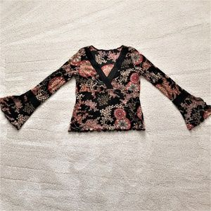 Vintage Long Sleeve Flair Cuff Blouse-Large